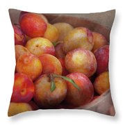 Food - Peaches - Farm fresh peaches  Throw Pillow by Mike Savad