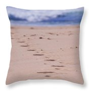 Footprints Throw Pillow by Michelle Wrighton