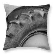Ford Tractor In Black And White Throw Pillow by Jennifer Ancker