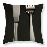 Fork and Knife - Painterly Throw Pillow by Wingsdomain Art and Photography