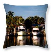 Fort Pierce Marina Throw Pillow by Trish Tritz