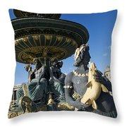 Fountain At Place De La Concorde. Paris. France Throw Pillow by Bernard Jaubert