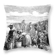 France: Grape Harvest, 1854 Throw Pillow by Granger
