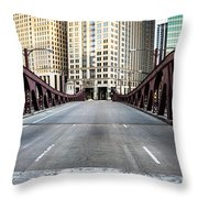 Franklin Orleans Street Bridge Chicago Loop Throw Pillow by Paul Velgos