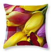 Fresh Tulips and Red Butterfly Throw Pillow by Garry Gay
