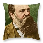 Friedrich Engels, Father Of Communism Throw Pillow by Photo Researchers
