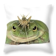 Frog And Grasshopper Throw Pillow by Darwin Wiggett