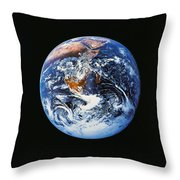 Full Earth From Space Throw Pillow by Stocktrek Images