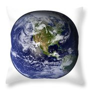 Full Earth Showing North America White Throw Pillow by Stocktrek Images