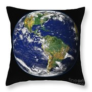 Full Earth Showing The Western Throw Pillow by Stocktrek Images