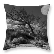 Full Moon Over Jekyll Throw Pillow by Debra and Dave Vanderlaan
