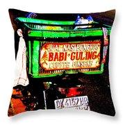 Funky Balinese Motorbike Throw Pillow by Funkpix Photo Hunter
