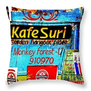 Funky Kafe Suri In Bali Throw Pillow by Funkpix Photo Hunter