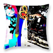 Funky Surf Boards in Seminyak Throw Pillow by Funkpix Photo Hunter