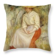 Gabrielle in a Straw Hat Throw Pillow by Pierre Auguste Renoir