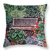 Garden Bench Sketchbook Project Down My Street Throw Pillow by Irina Sztukowski