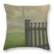 Garden Gate In Morning Fog Throw Pillow by Olivier Le Queinec