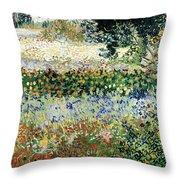 Garden In Bloom Throw Pillow by Vincent Van Gogh