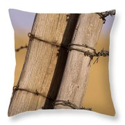 Gate Posts Join A Barbed Wire Fence Throw Pillow by Gordon Wiltsie