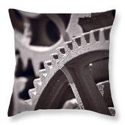 Gears Number 3 Throw Pillow by Steve Gadomski
