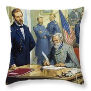 General Ulysses Grant Accepting The Surrender Of General Lee At Appomattox  Throw Pillow by Severino Baraldi
