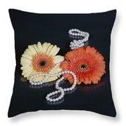 Gerberas With Pearls Throw Pillow by Joana Kruse