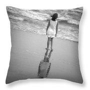 Girl By Ocean Throw Pillow by Kelly Hazel