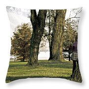 girl in autumn Throw Pillow by Joana Kruse