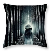 Girl In The Forest Throw Pillow by Joana Kruse