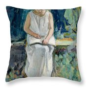 Girl Reading Throw Pillow by Henri Lebasque
