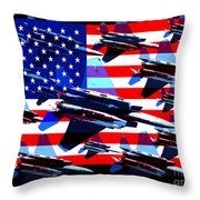 God Bless America Land Of The Free 2 Throw Pillow by Wingsdomain Art and Photography