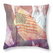 God Bless The Usa Throw Pillow by Cheryl Young
