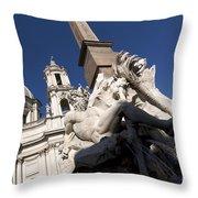 God Of The River Ganges. Fontana Dei Quattro Fiumi. Piazza Navona. Rome Throw Pillow by Bernard Jaubert