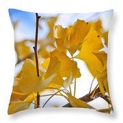 Golden Autumn Throw Pillow by Kaye Menner