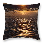 Golden Sunset On The Sand Beach Throw Pillow by Setsiri Silapasuwanchai