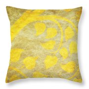 Golden Tree Pattern On Paper Throw Pillow by Setsiri Silapasuwanchai