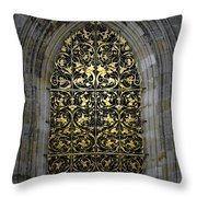 Golden Window - St Vitus Cathedral Prague Throw Pillow by Christine Till