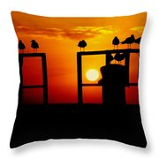 Goodnight Gulls Throw Pillow by Karen Wiles