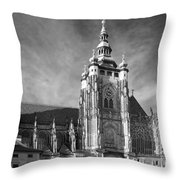 Gothic Saint Vitus Cathedral In Prague Throw Pillow by Christine Till