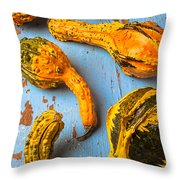 Gourds on wooden blue board Throw Pillow by Garry Gay