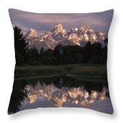 Grand Teton Range And Cloudy Sky Throw Pillow by Tim Fitzharris