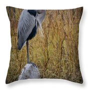 Great Blue Heron On Spool Throw Pillow by Debra and Dave Vanderlaan