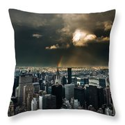 Great Skies Over Manhattan Throw Pillow by Hannes Cmarits