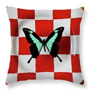 Green And Black Butterfly On Red Checker Plate Throw Pillow by Garry Gay