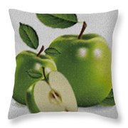 Green Apples Throw Pillow by Cheryl Young