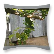 Green Grapes On Rusted Arbor Throw Pillow by Deb Martin-Webster