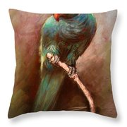 Green Parrot Throw Pillow by Ylli Haruni