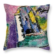 Green Piano Side View Throw Pillow by Anita Burgermeister