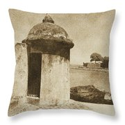 Guard Post Castillo San Felipe Del Morro San Juan Puerto Rico Vintage Throw Pillow by Shawn O'Brien