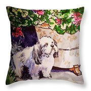 Guarding Geranium Sketchbook Project Down My Street Throw Pillow by Irina Sztukowski